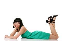 Beautiful fashion model in mini Royalty Free Stock Photos