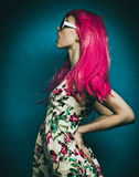 Beautiful fashion model  with pink hair Stock Photos