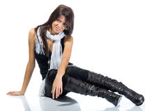 Beautiful fashion model posing. Isolated over a white background royalty free stock photos