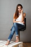 Beautiful fashion model posing at studio Stock Photography