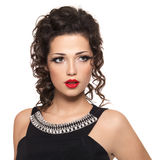 Beautiful fashion model with red lips Stock Photography