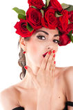 Beautiful fashion model with red roses Royalty Free Stock Images