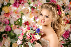 Beautiful fashion model. Sensual bride. Woman with wedding dress Royalty Free Stock Image