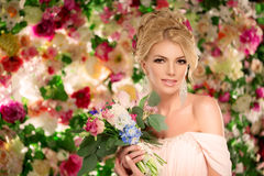 Beautiful fashion model. Sensual bride. Woman with wedding dress Stock Photos