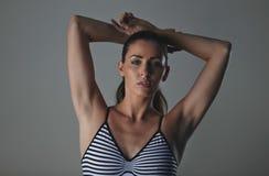 Beautiful fashion model in studio wearing bodystocking Royalty Free Stock Image