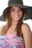 Beautiful Fashion Model Wearing A Retro Summer Hat. Isolated Stock Photo