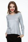 Beautiful fashion model wearing silver grey top Royalty Free Stock Photos