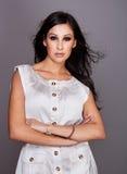 Beautiful fashion model in white dress. Beautiful fashion model in white summer dress Stock Photos
