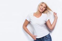 Beautiful fashion model in white t-shirt. Royalty Free Stock Photo