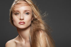 Beautiful fashion model woman with glamour make-up royalty free stock images