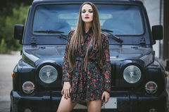 Beautiful fashion model woman with makeup and fancy dress and th stock photography