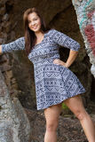 Beautiful Fashion Model Woman. Standing by concrete ruins Royalty Free Stock Image