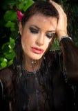 Beautiful Fashion Model Woman in Summer Rain Royalty Free Stock Image