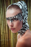 Beautiful fashion model in a zebra Stock Image