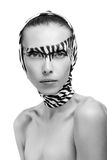 Beautiful fashion model in a zebra Royalty Free Stock Photos