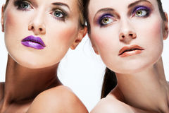 Beautiful fashion models with full make up. Stock Photo