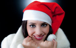 Beautiful  Fashion Santa girl Royalty Free Stock Photo