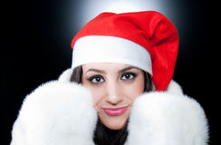Beautiful  Fashion Santa girl Stock Photos