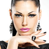 Beautiful fashion sexy woman with black nails. Royalty Free Stock Photography
