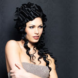 Beautiful fashion  woman with curly hairstyle Royalty Free Stock Photo