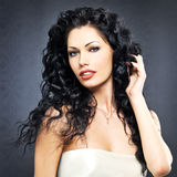 Beautiful fashion  woman with curly hairstyle Royalty Free Stock Photos