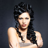Beautiful fashion sexy  woman with curly hairstyle Royalty Free Stock Images
