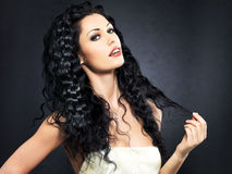 Beautiful fashion sexy  woman with curly hairstyle Royalty Free Stock Photo