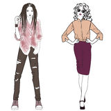 Beautiful fashion and street hip hop girl styles. Royalty Free Stock Images