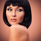 Beautiful fashion  woman with bob hairstyle Stock Photo