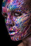 Beautiful fashion woman with bright color face art Royalty Free Stock Images