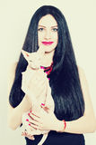 Beautiful Fashion Woman and Cat Royalty Free Stock Image