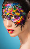 Beautiful fashion woman color face art. Royalty Free Stock Images