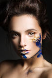 Beautiful fashion woman color  face art Stock Image