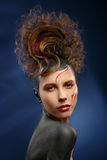 Beautiful fashion woman color face. Art and hairstyle Royalty Free Stock Photo