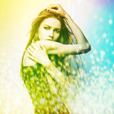 Beautiful fashion woman. Color face pop art. Royalty Free Stock Photo