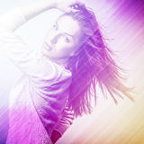 Beautiful fashion woman. Color face pop art photo toned pink. Stock Photos