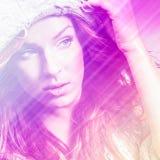 Beautiful fashion woman. Color face pop art. Royalty Free Stock Photos