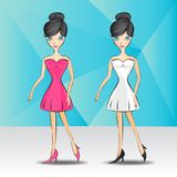 Beautiful fashion woman in dress. Hand drawn pretty girl Vector illustration Stock Images