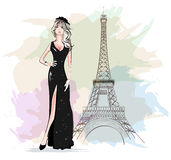 Beautiful fashion woman with Eiffel Tower on background. Sketch. stock illustration