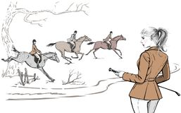 Beautiful fashion woman with english equestrian sport fox hunting style horse rider. England landscape steeplechase tradition rider girl. Vector hand drawn Stock Photo