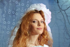 Beautiful Fashion Woman Face Red Hair Stock Images