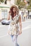 Beautiful Fashion Woman In Fur Coat Stock Image