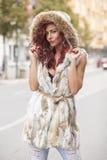 Beautiful Fashion Woman In Fur Coat Royalty Free Stock Photos