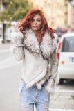 Beautiful Fashion Woman In Fur Coat Stock Photo