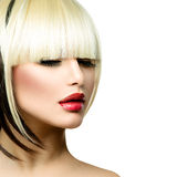 Fashion Woman. Fringe hairstyle. Beautiful Fashion Woman Hairstyle for Short Hair. Fringe Haircut Stock Photography