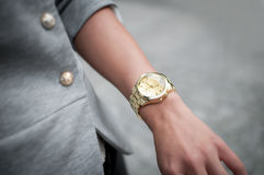 Beautiful fashion woman hand with watch, Royalty Free Stock Images