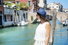 Beautiful fashion woman with hat   in Venice, Italy Royalty Free Stock Photos