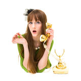 Beautiful fashion woman holding a  vintage phone Royalty Free Stock Photo
