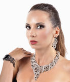 Beautiful fashion woman with jewelry accessories Royalty Free Stock Photo