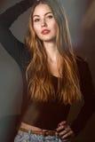 Beautiful fashion woman with long hair posing Stock Photo